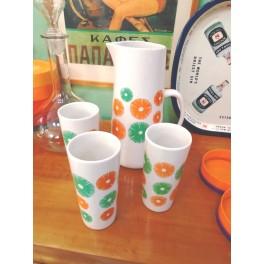 Vintage Ceramic Set Jug/Carafe  With 3 Glasses