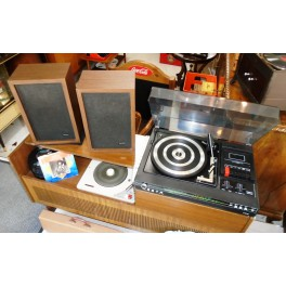 Vintage Music System Fidelity MC5 with Radioreceiver, BSR Turntable & 2 Speakers