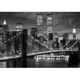 Manhattan Night B&W 3D Framed Poster