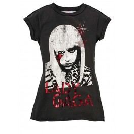 Lady Gaga Women's Vintage Style T-Shirt by Amplified (Charcoal)