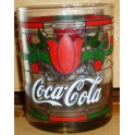 Coca Cola Red & Green Classic Flower Pattern Glass (Whiskey Style)