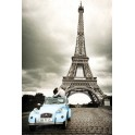 Paris Blue Car Romance